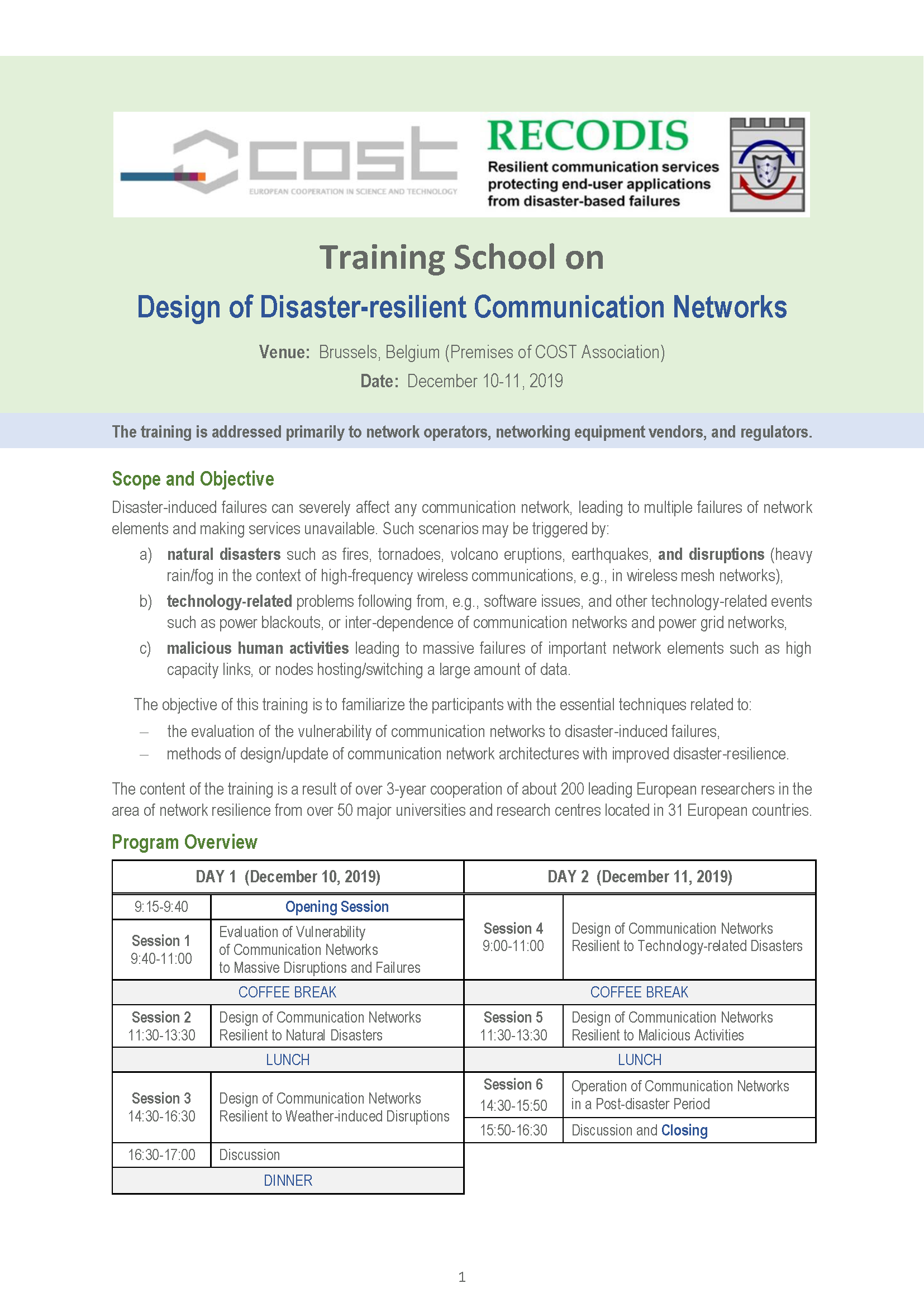 RECODIS Training on Design of Disaster resilient Communication Networks